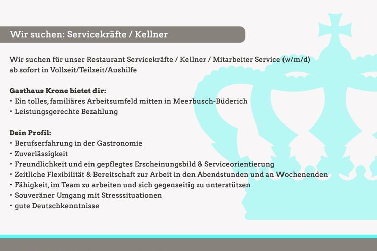 Wir suchen: Servicekräfte / Kellner